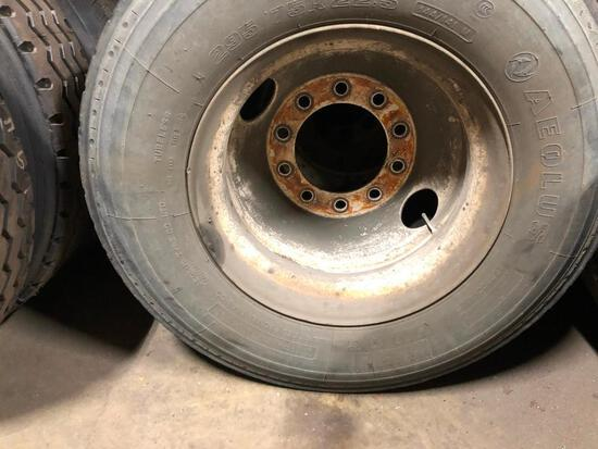 295/75R22.5 MOUNTED INSIDE ROW RE-CAP TIRES