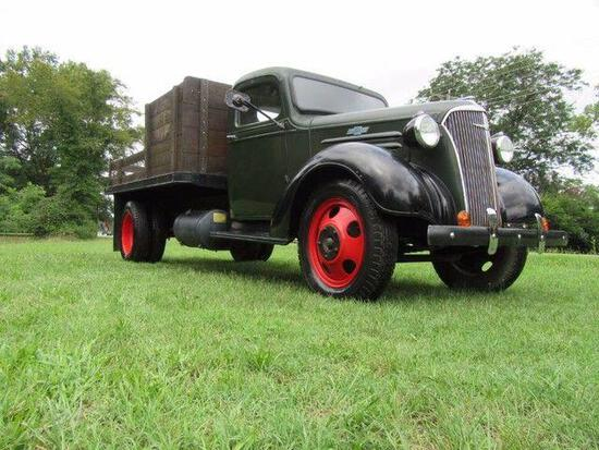 *PULLED* 1937 Chevrolet One and a Half Ton 10' Stakebody, Vin T717834
