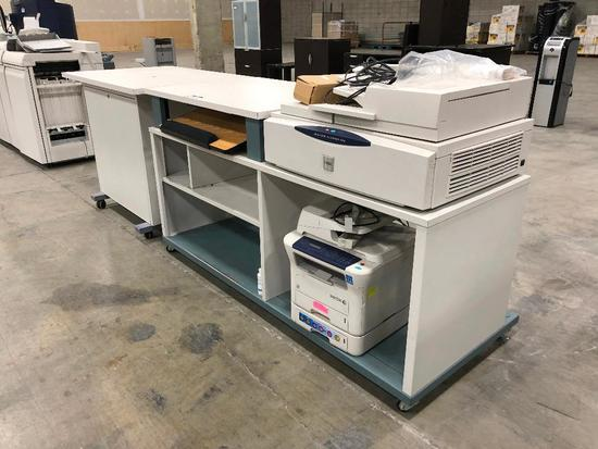 Print Shop Work Bench w/ Xerox FreeFlow Scanner 665, Xerox Work Centre 3220
