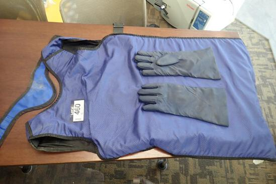 Lot of Lead X-Ray Apron, Neck Protector and Gloves.
