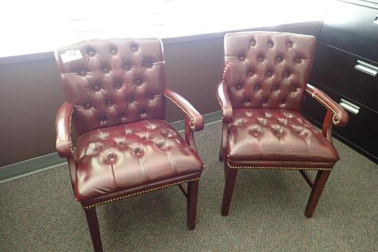 Lot of 2 Burgundy Tufted Back Side Chairs.