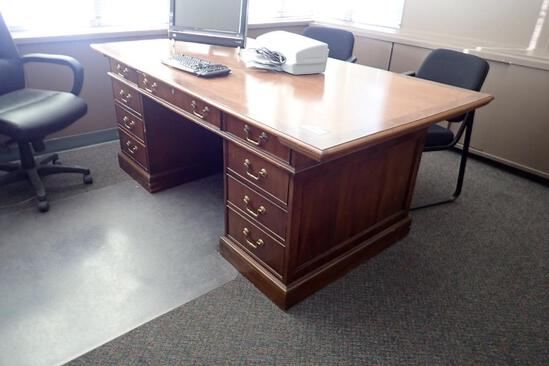 Executive Colonial Style Double Pedestal Desk w/ Credenza, Task Chair and Side Chairs.