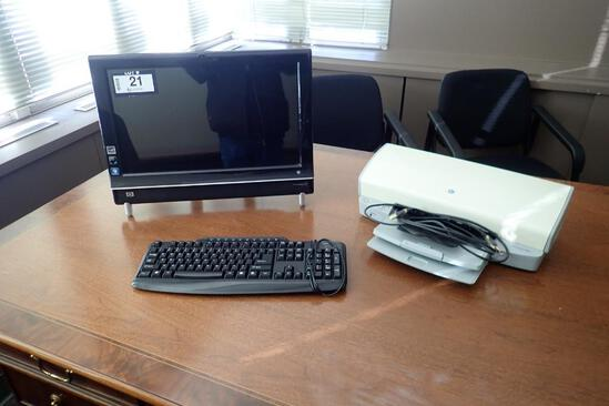 HP Touchsmart 300 All-in-One Computer w/ HP Desktop 5440 Printer and Keyboard.
