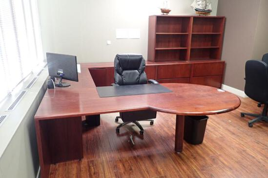 Bullet Nose L-shaped Executive Suite w/ 2 Modified Credenzas and Task Chair.