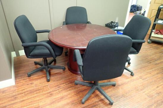 "48"" Round Meeting Table w/ 4 Task Chairs."