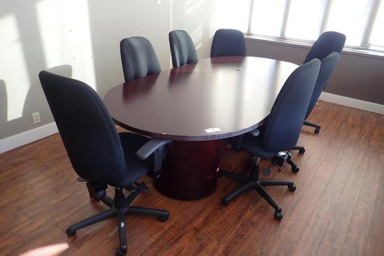 8' Racetrack Boardroom Table w/ 8 Task Chairs.