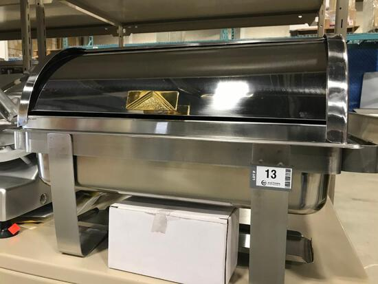 VOLLRATH ROLL TOP CHAFER, FULL SIZE, WITH GOLD ACCENTS - NEW