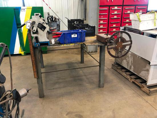 """64"""" X 50"""" Welding Table w/ Magnum W01-1.5X1300 Slip Roll and Welding Positioner"""