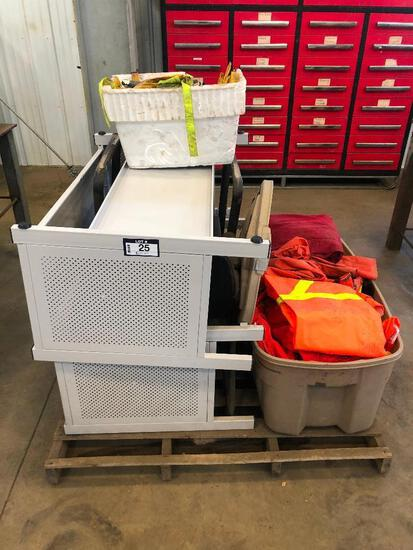 Lot of (2) Benches, (2) Plastic Owls, (2) Side Chairs, and Asst. Safety Clothing