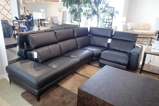 HTL Manufacturing 4-Piece Sectional w/ 1 Power Recliner and Tilting Headrests- Approx. 10 1/2' & 6