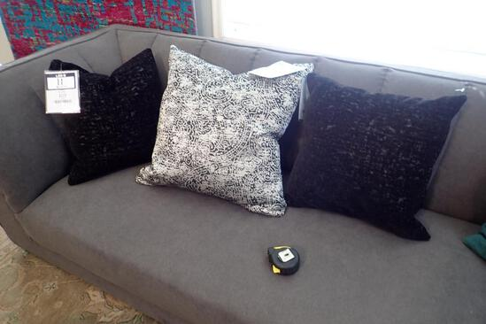 """Lot of Patterned 24"""" Square Toss Pillow and 2 Black 20"""" Square Throw Pillows."""