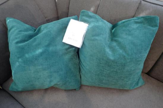 """Lot of 2 Teal 20"""" Square Throw Pillows."""