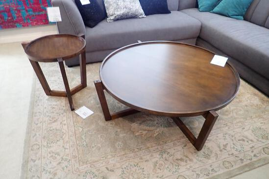 """Lot of Decor-Rest Soho 42"""" Round Coffee Table and 19"""" Round End Table."""
