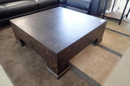 "Burled Walnut 42"" Square Coffee Table."