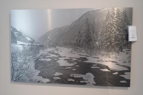 """Frozen Lake 48""""x30"""" Etched Print."""