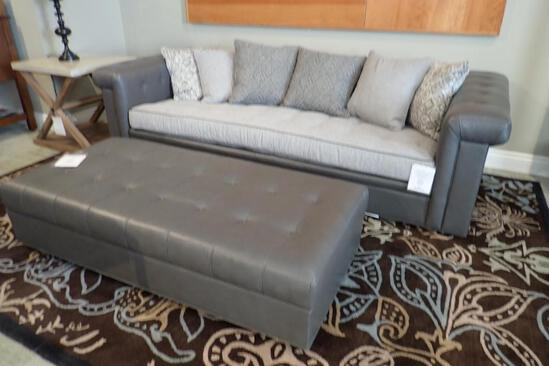 """Stickley Chicago 98"""" Sofa w/ 60""""x29"""" Ottoman and (6) 20"""" Square Throw Pillows."""