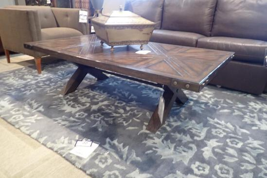 """Hooker 62""""x34"""" Coffee Table and 24"""" Round End Table."""