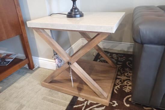"A.R.T. Furniture Ventura 27""x24"" Granite Top End Table."