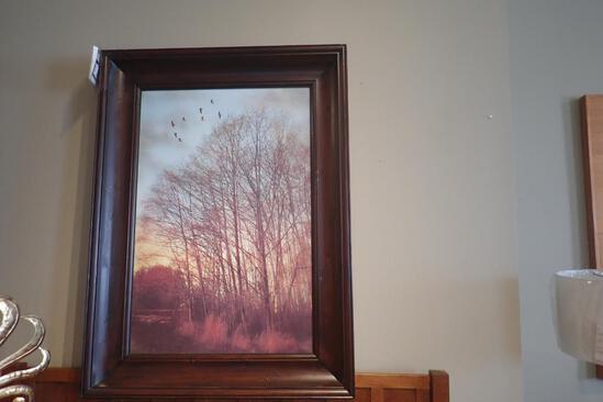 "ASH Wood Framed 45""x34"" Winter Light Picture."
