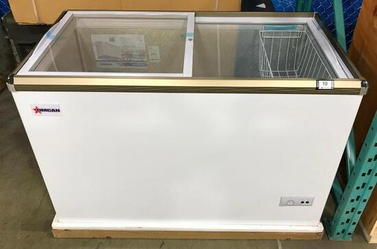 "45.7"" ICE CREAM DISPLAY CHEST FREEZER WITH FLAT GLASS TOP, OMCAN 45293 - NEW"