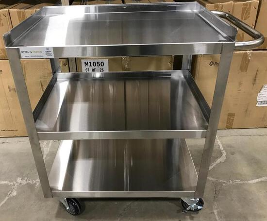 WELDED STAINLESS STEEL 3 TIER CART, 120-CART1831WELD - NEW