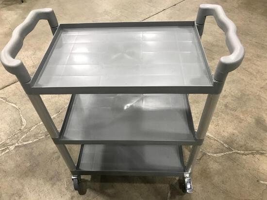 "3 TIER TROLLEY CART, GREY, 16-1/8""X32-7/8""X37-7/8""H, 120-T1632 - NEW"