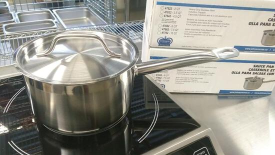 2QT HEAVY DUTY STAINLESS SAUCE PAN INDUCTION CAPABLE, JR 47622 - NEW
