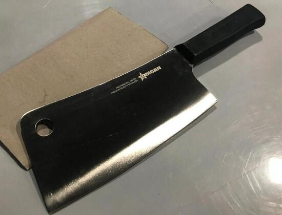 """7"""" CLEAVER W/BLACK POLY HANDLE, OMCAN 10549 - NEW"""