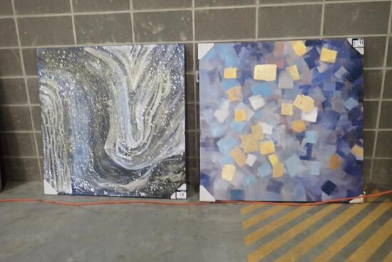"""Lot of 2 Canvas 40""""x40"""" Pictures-Minor Damage."""