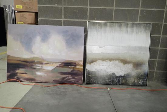 """Lot of Framed 40""""x40"""" Canvas Picture and 48""""x36"""" Canvas Picture- Minor Damage."""