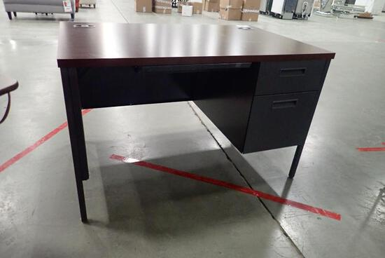 "Lot of Single Pedestal 48""x30"" Desk, Pedestal and Hutch-Minor Damage to Hutch."