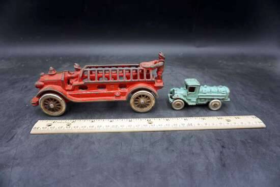 Fire truck and small truck, lot of 2