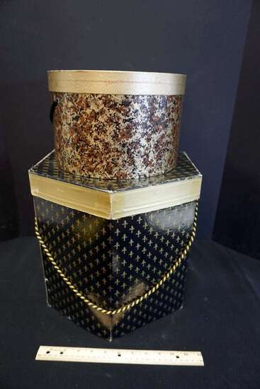 Hat Boxes with hats, lot of 2 boxes