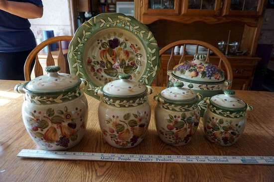 Canisters and serving bowl.