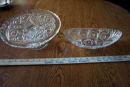 Cake plate and crystal bowl.