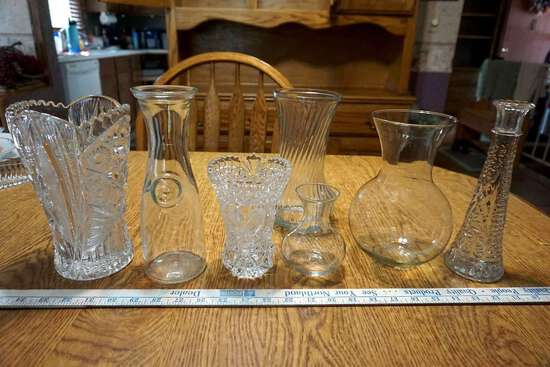 Assorted glass vases and milk Bottle.