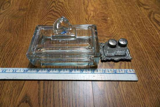 salt and Peppers,  Glass box with horse.