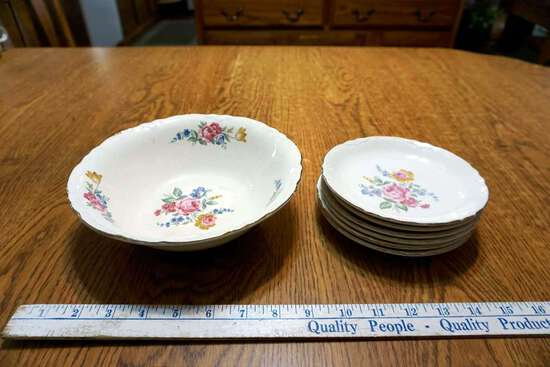 Matching plates and bowl.