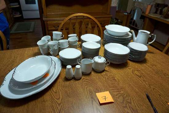 Large silver rimmed China set with serving pieces