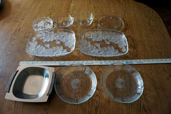 Rose cut glass and other Clear glass serving dishes.