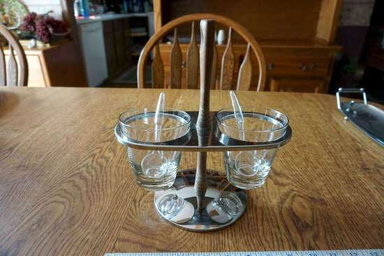 Cups with spoons and stand.