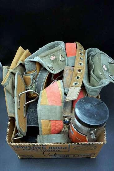 Tool belts, hitch, hardware, mug.