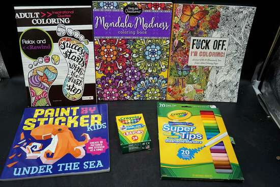 coloring books and art supplies.