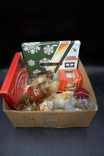Coca Cola glasses, Christmas ornaments.