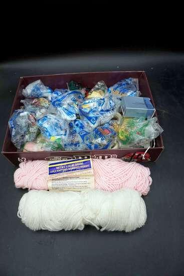 Smurf toys, yarn.