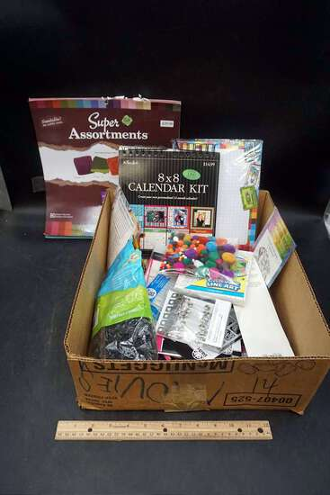 Craft supplies, scrapbooking supplies.