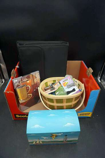 Painted box, coffee artwork, binder, basket of miscellaneous.