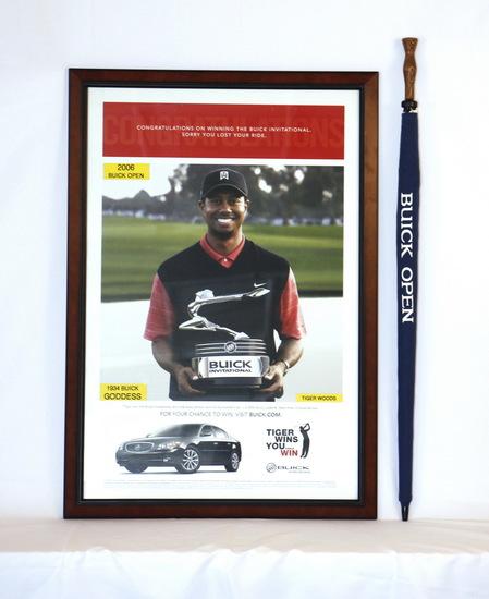 Tiger Woods Framed Buick Open Dealer Poster & Umbrella