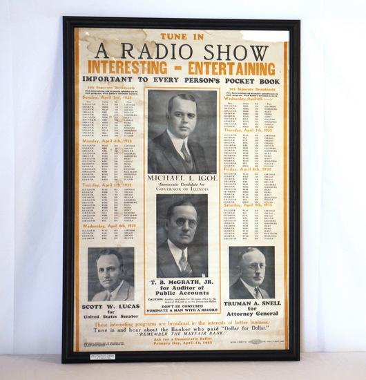 1932 Vintage Framed Radio Show Political Poster