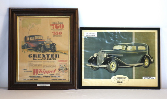 Vintage Framed Chevrolet Six & Whippet Posters